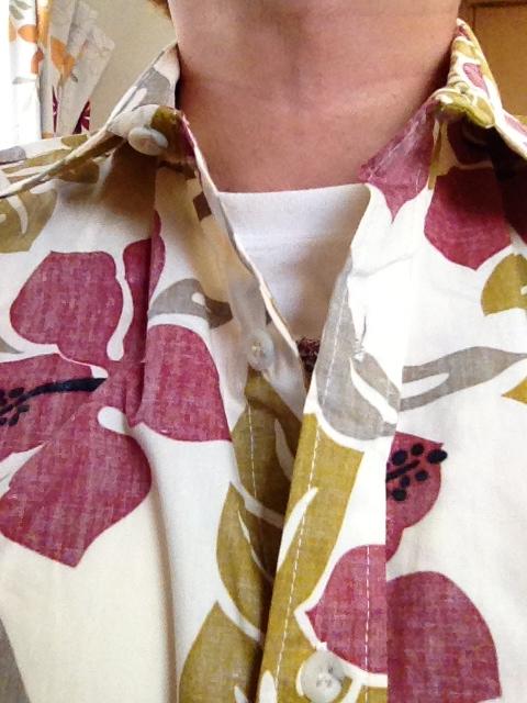 アロハシャツのインナーにTシャツを着たの図